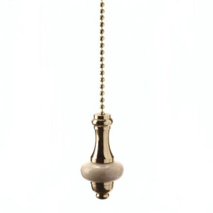 WML Polished Brass with Beige Ceramic Disc Light Pull
